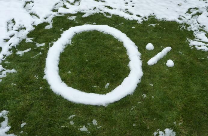 Zero per cent written in snow