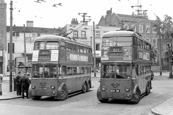 1930s trolleybus in London