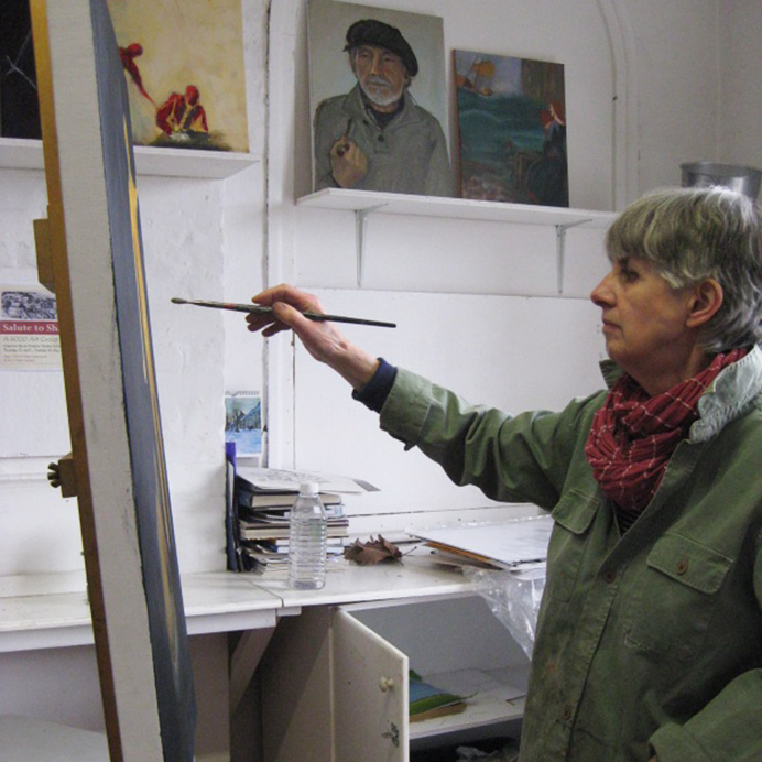 Artist Maggie Le Rougetel working on Ealing Autumn Festival exhibition