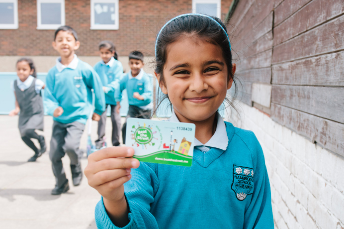 Hambrough Primary School pupils with a Beat the Street card