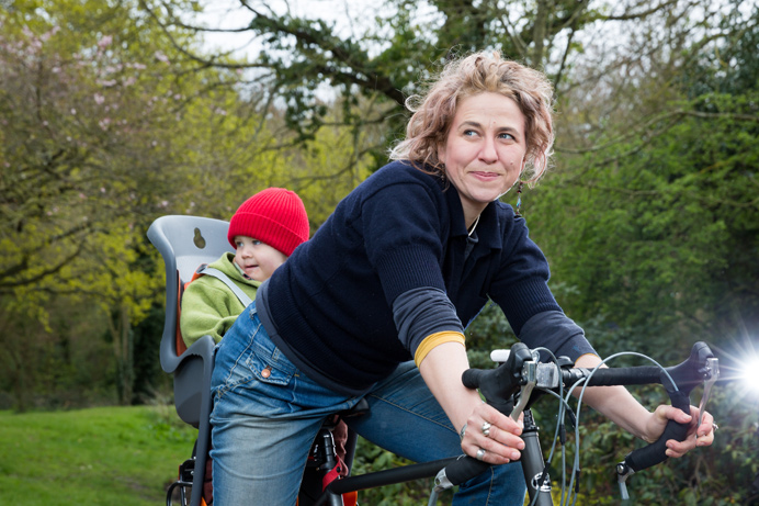 Erika Severini and child on a bike