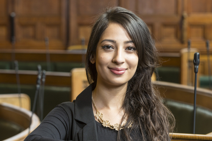 Apprentice Jasmeet Bhurjee in the council chamber