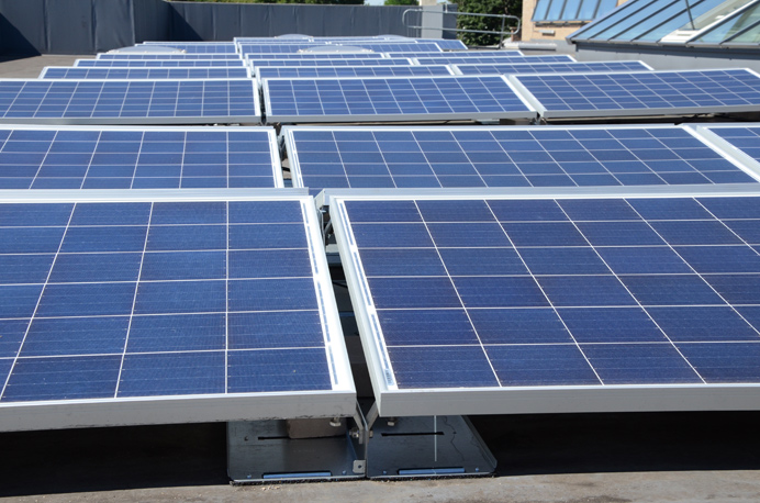 Solar panels on the roof of Castelbar primary school in Ealing