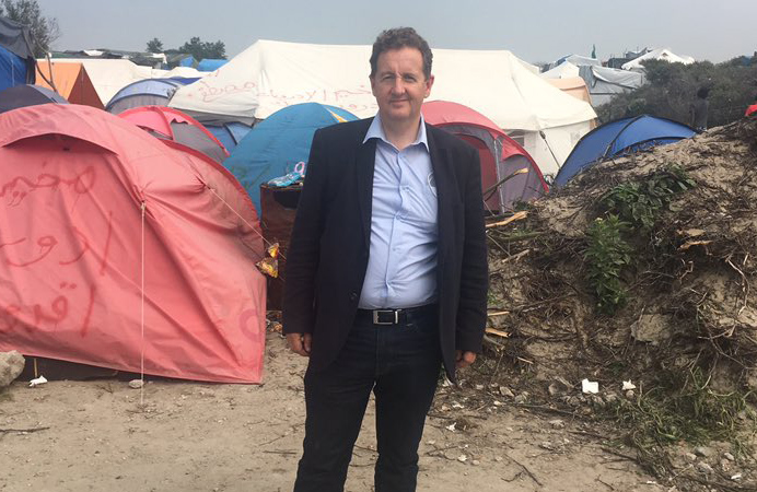 Council leader Julian Bell during a visit to the Calais refugee camp