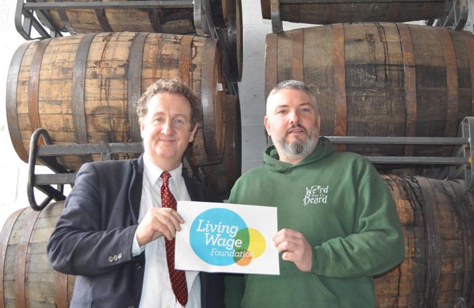 Julian Bell visiting Weird Beard brewery, a Living Wage employer