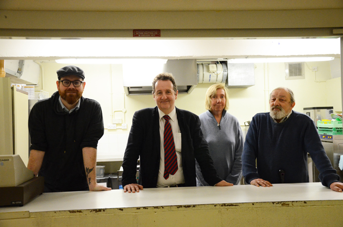 Andrew Mcleay, Julian Bell, Jen Wadcote and Alan Simpson at the soup kitchen