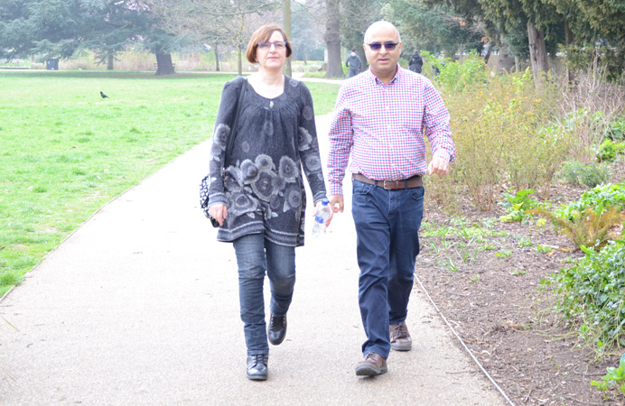 Nell Blane and Councillor Hitesh Tailor walking in Ealing