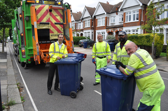 Councillor Bassam Mahfouz out with recycling collection crew