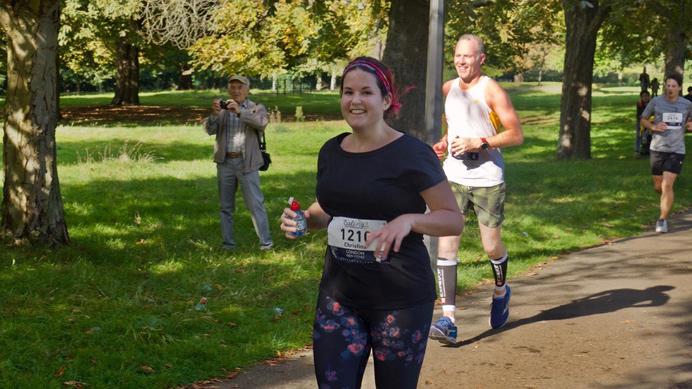Christina Kerry running the Ealing Half Marathon 2017. She won the race place through Ealing News Extra