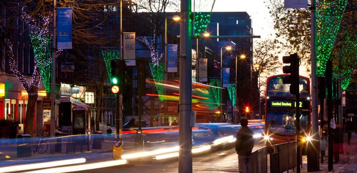 Christmas scene in Ealing Broadway