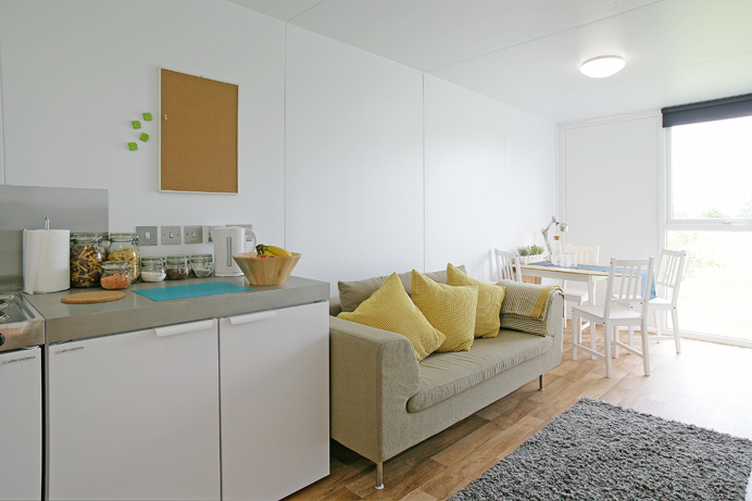 Interior shot of the shipping container homes