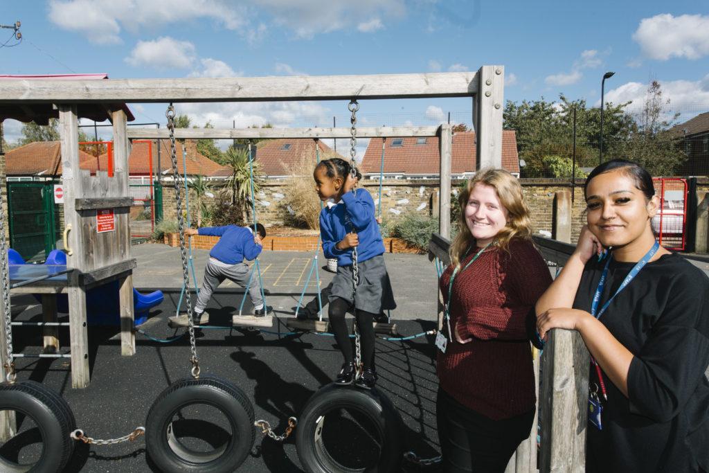 Amelia and Fizza are doing apprenticeships at Tudor Primary School