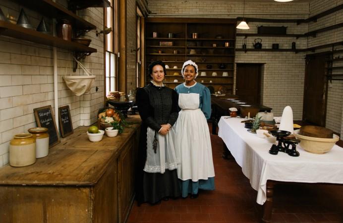 Staff in period costume at Gunnersbury Park Museum