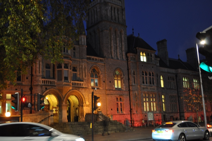 Ealing Town Hall lit red