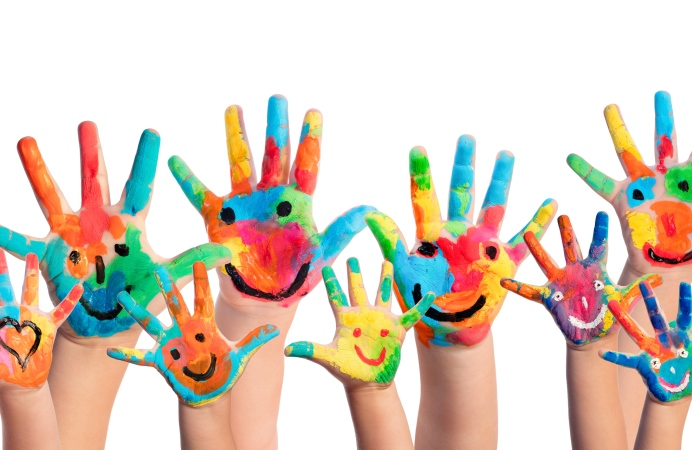 Painted kids' hands