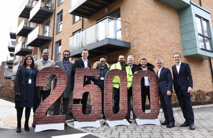 Mayor of London Sadiq Khan and his deputy visit new council homes