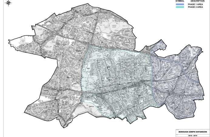 Map showing 20mph trial area