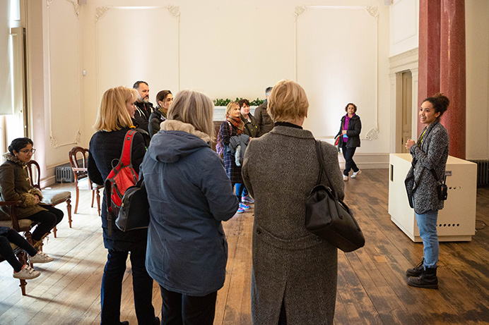 Susan Smee addressing guests at the Gunnersbury Park and Museum Winter Fair