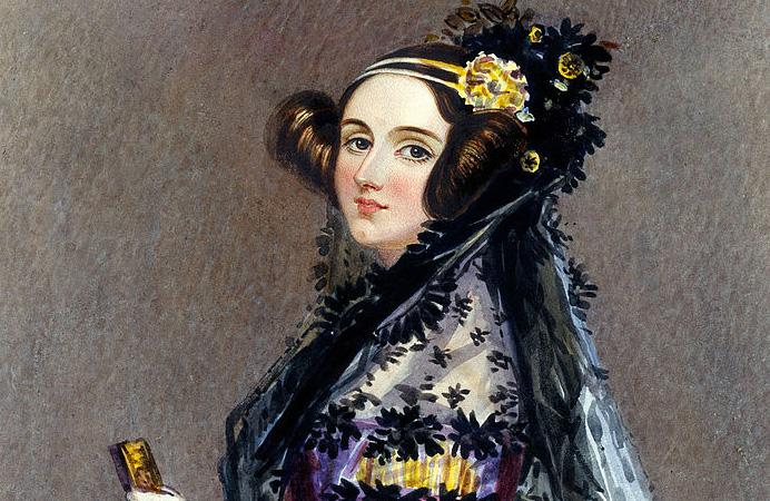 Watercolor portrait of Ada King, Countess of Lovelace (Ada Lovelace) circa 1840