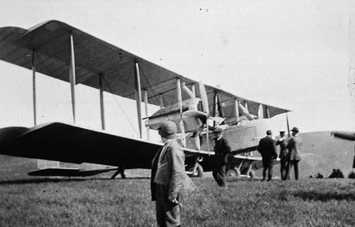 Alcock and Brown in their Vickers Vimy ahead of take-off for Atlantic challenge