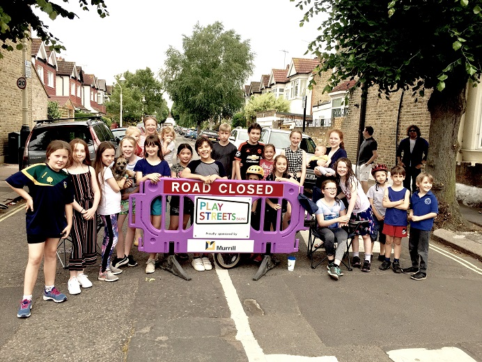 Group of children promoting Play Streets Ealing