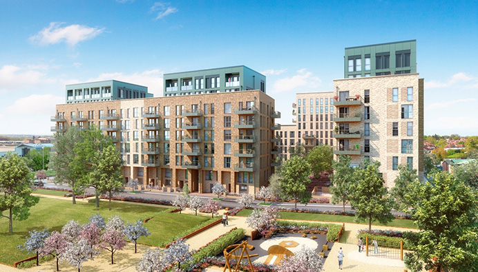 An artist's impression of homes at Acton Gardens