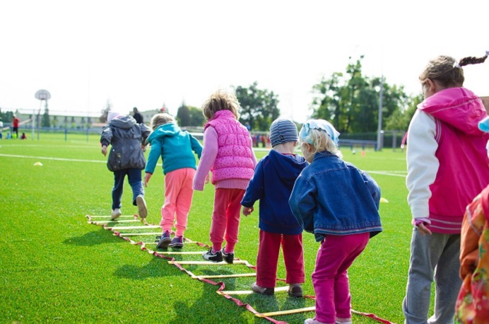 Young children getting active outdoors