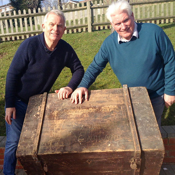 Brian and Charles Medlicott with Harold's wartime trunk