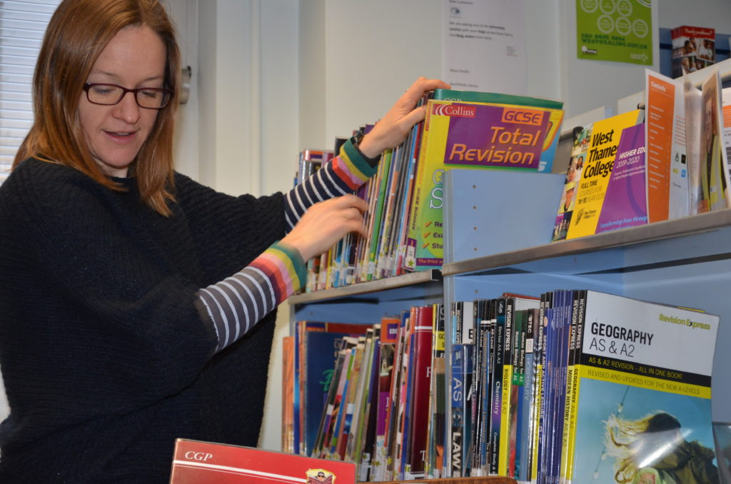Jenny Oldroyd, preparing for young readers at Northfields Community Library