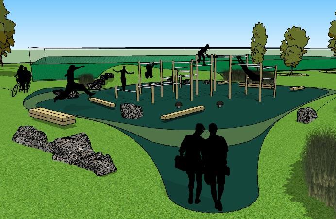 Artists impression of Parkour facilities in Lammas Park