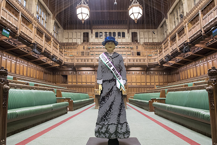 Hope the suffragette made of Lego bricks at the Houses of Parliament © Parliamentary Archives