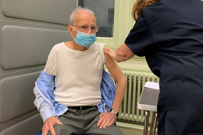 Ruy Silva, 88, getting vaccine - the first Ealing resident to do so