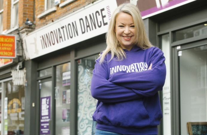 Emma Hardy outside Innovation Dance Studio