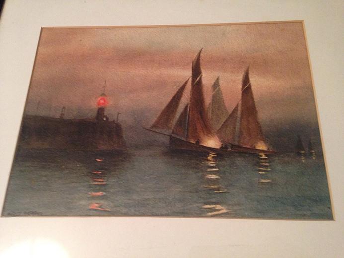 Boats at Moonlight, painting by Harold Auerbach