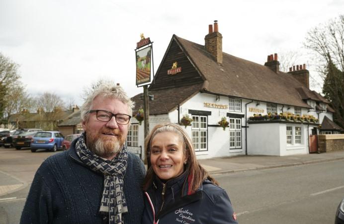 Derek and Ushma outside the Plough