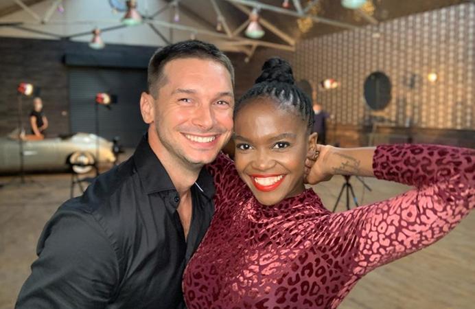 Oti Mabuse and husband Marius in their dance studio