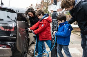 Family using Electric vehicle charge point