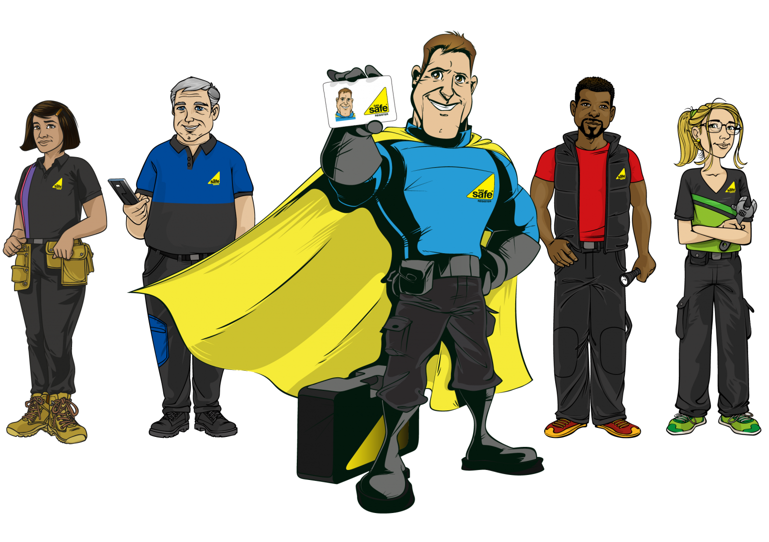 Gas Safety Week characters in a line up