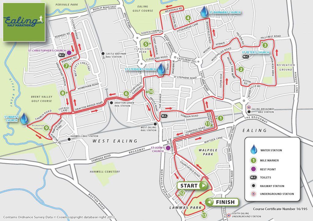 Map of Ealing detailing the route of Ealing Half Marathon 2021