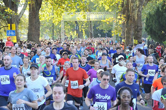 Runners at the start of Ealing Half Marathon