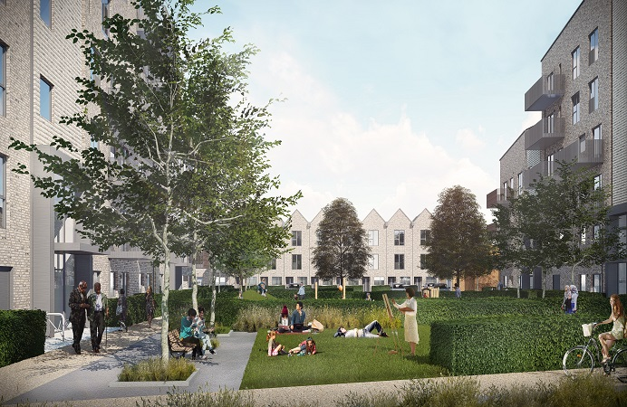 People walking, sitting, riding bikes and enjoying the outdoor space in the middle of three housing blocks