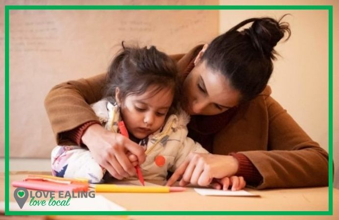 Mother and daughter enjoying an art activity together