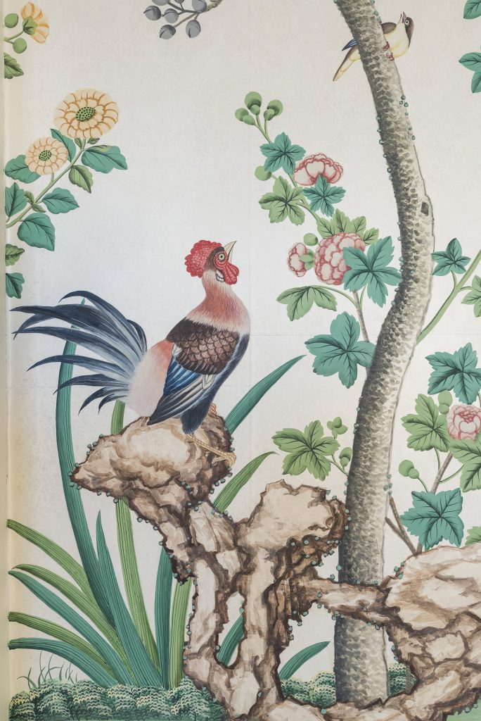 artist drawing of bird and greenery, which is a sample of wallpaper from  Pitzhanger Manor
